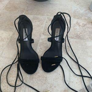 STEVE MADDEN black lace up heel sandals
